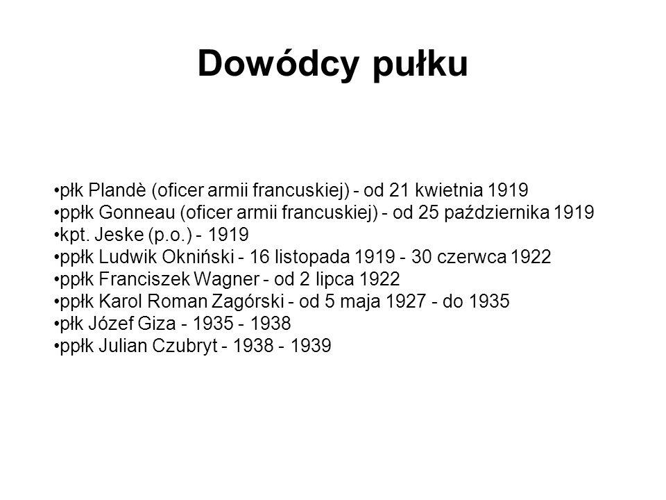 Dowódcy pułku płk Plandè (oficer armii francuskiej) - od 21 kwietnia 1919. ppłk Gonneau (oficer armii francuskiej) - od 25 października 1919.