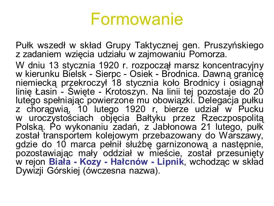 Formowanie Pułk wszedł w skład Grupy Taktycznej gen. Pruszyńskiego z zadaniem wzięcia udziału w zajmowaniu Pomorza.