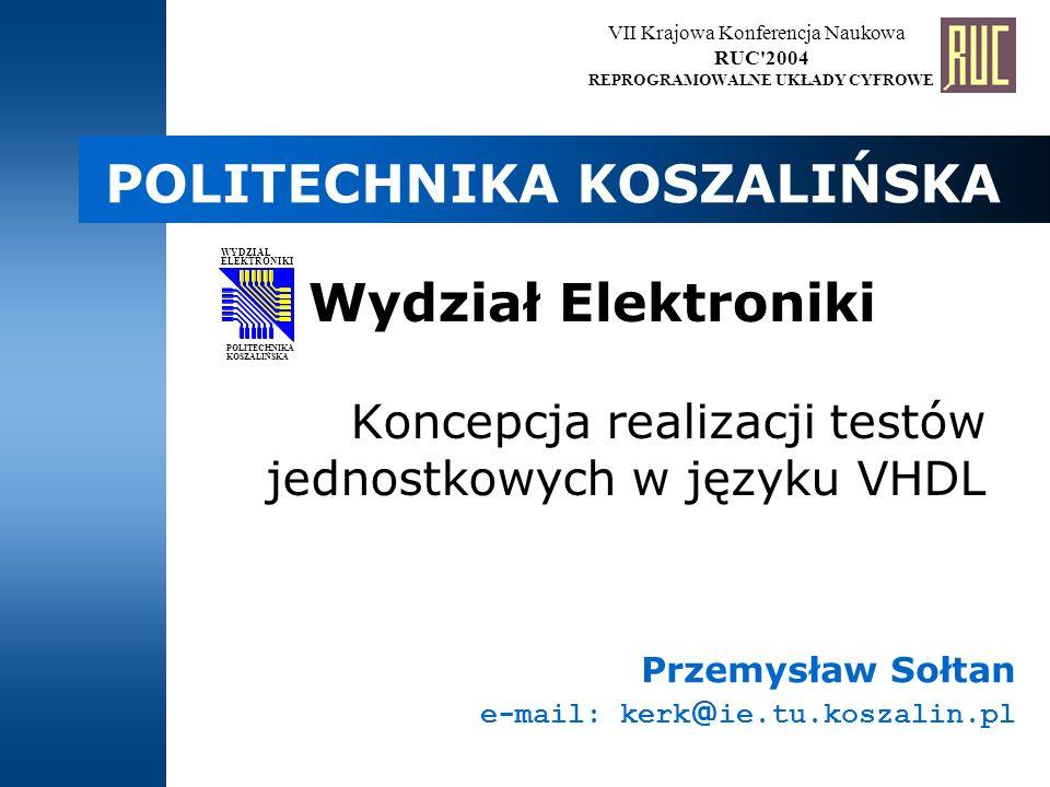 Koncepcja realizacji testów jednostkowych w języku VHDL