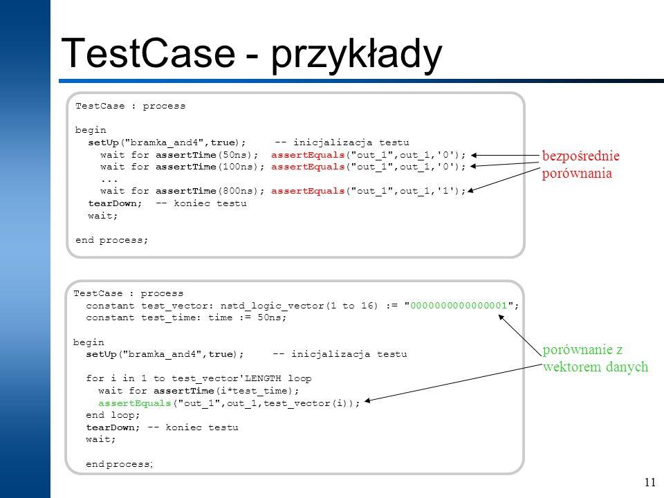 TestCase - przykłady bezpośrednie porównania porównanie z