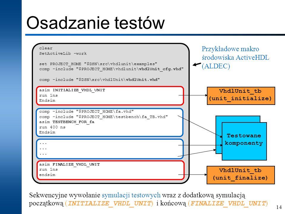 Osadzanie testów Przykładowe makro środowiska ActiveHDL (ALDEC)