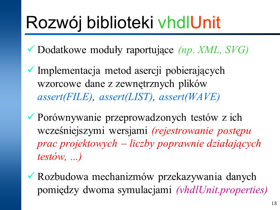 Rozwój biblioteki vhdlUnit