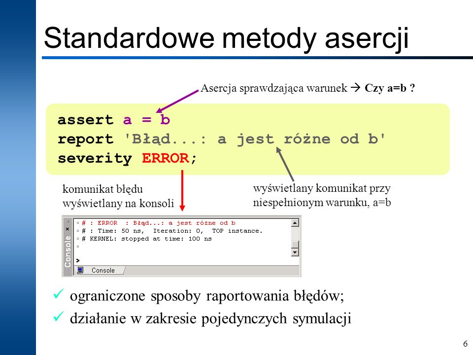 Standardowe metody asercji