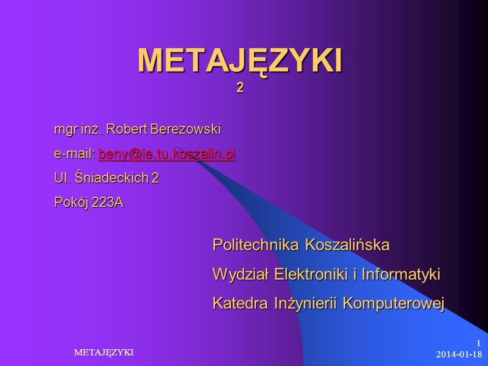 METAJĘZYKI 2 Politechnika Koszalińska