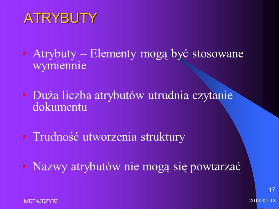 ATRYBUTY Atrybuty – Elementy mogą być stosowane wymiennie