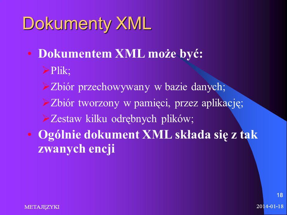 Dokumenty XML Dokumentem XML może być: