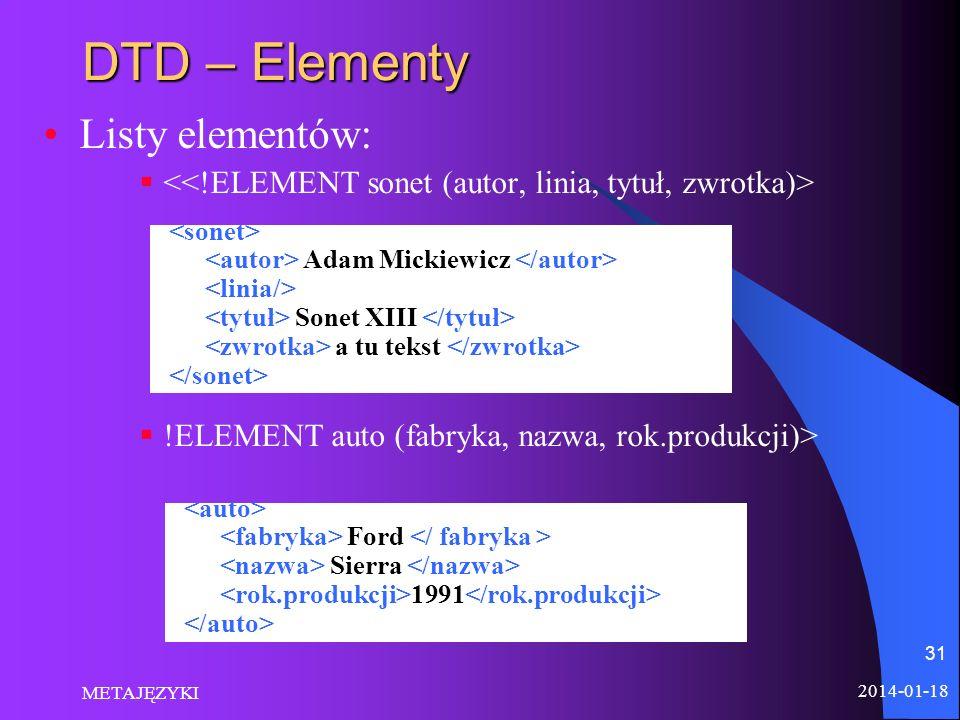 DTD – Elementy Listy elementów: