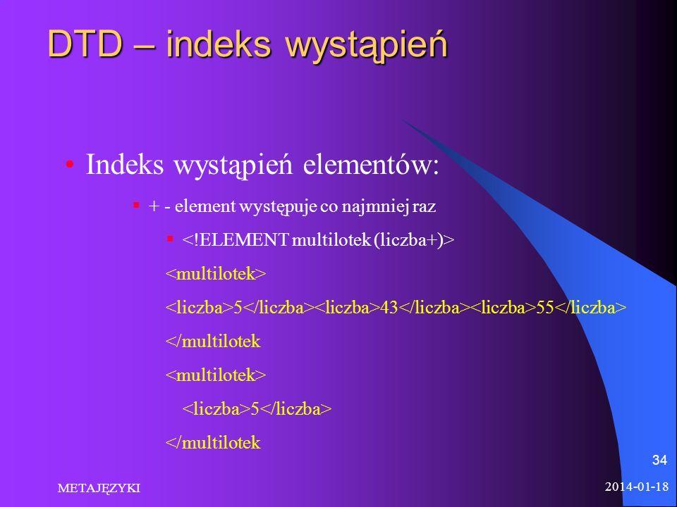 DTD – indeks wystąpień Indeks wystąpień elementów: