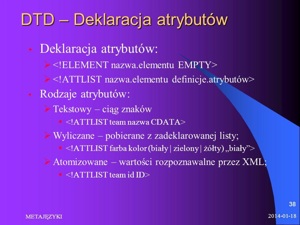DTD – Deklaracja atrybutów
