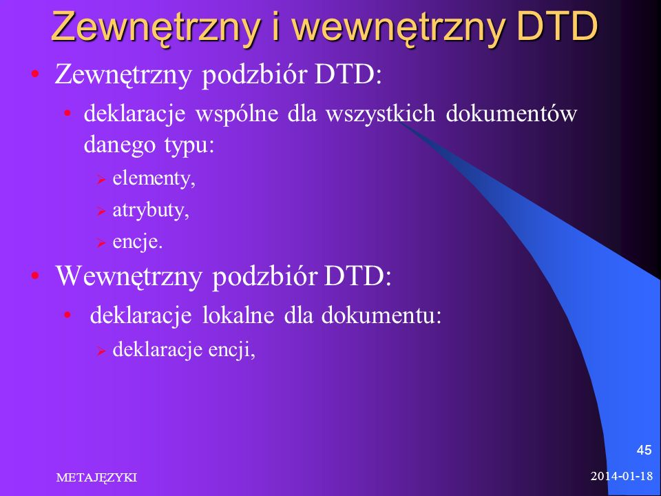 Zewnętrzny i wewnętrzny DTD