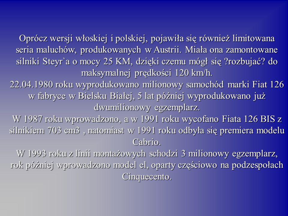 Oprócz wersji włoskiej i polskiej, pojawiła się również limitowana seria maluchów, produkowanych w Austrii.