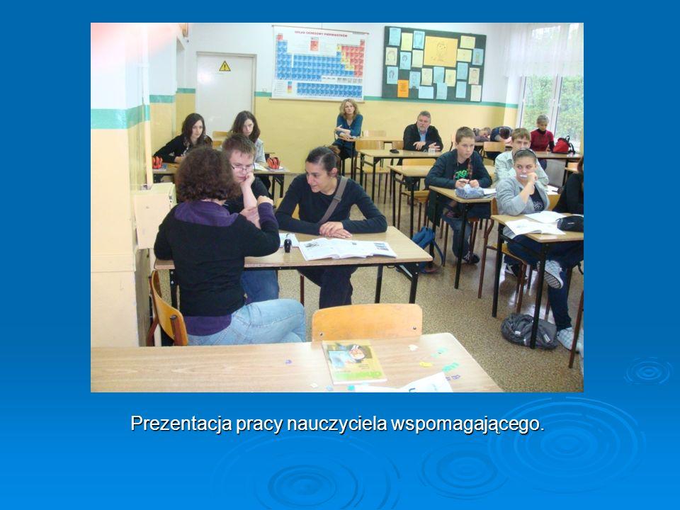 Prezentacja pracy nauczyciela wspomagającego.