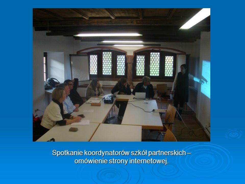 Spotkanie koordynatorów szkół partnerskich – omówienie strony internetowej.