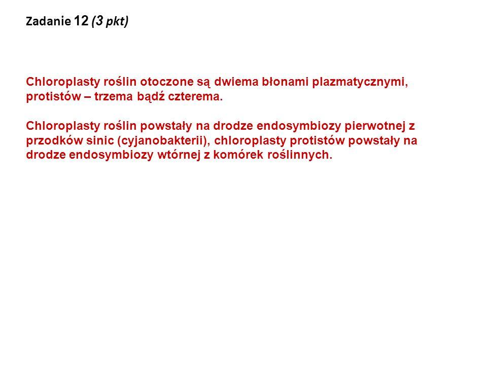 Zadanie 12 (3 pkt) Chloroplasty roślin otoczone są dwiema błonami plazmatycznymi, protistów – trzema bądź czterema.