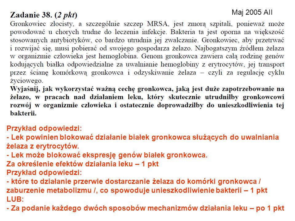 Maj 2005 AII Przykład odpowiedzi: - Lek powinien blokować działanie białek gronkowca służących do uwalniania żelaza z erytrocytów.