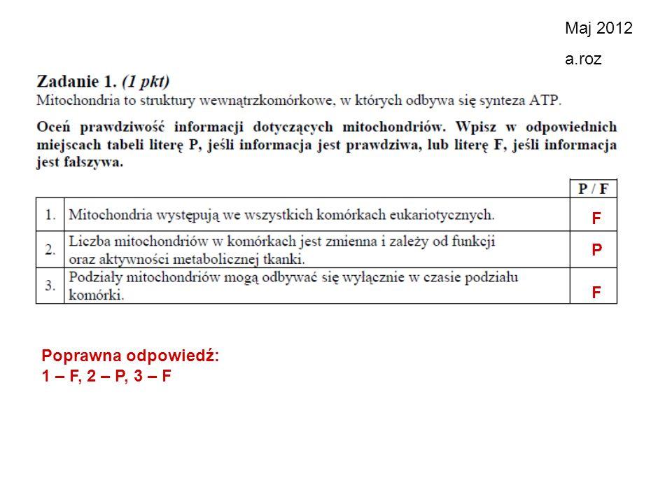 Maj 2012 a.roz F P F Poprawna odpowiedź: 1 – F, 2 – P, 3 – F