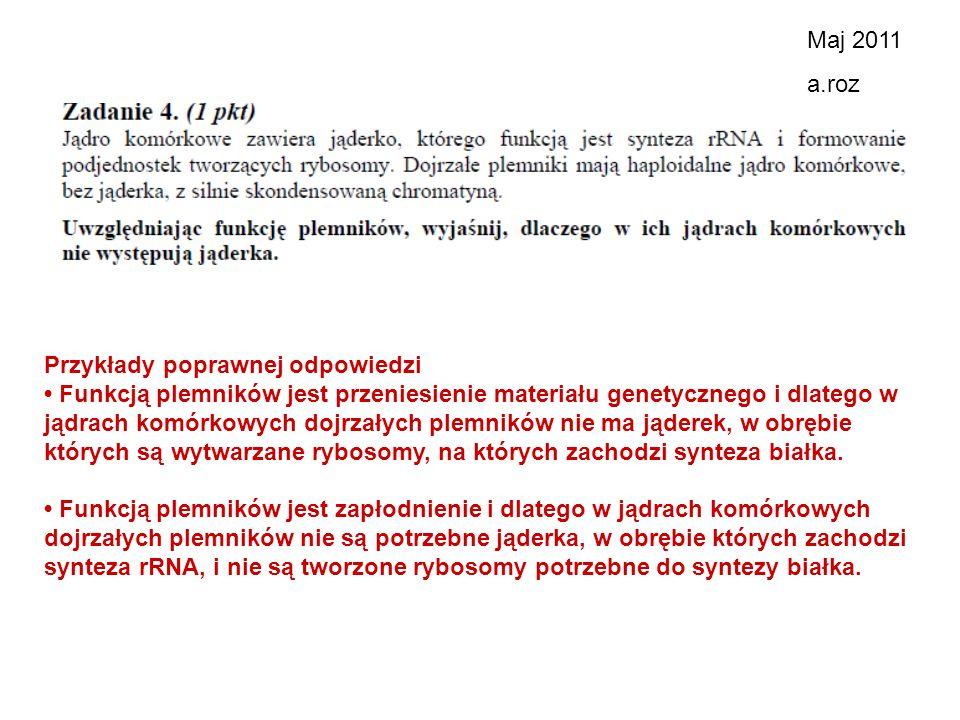 Maj 2011 a.roz. Przykłady poprawnej odpowiedzi.