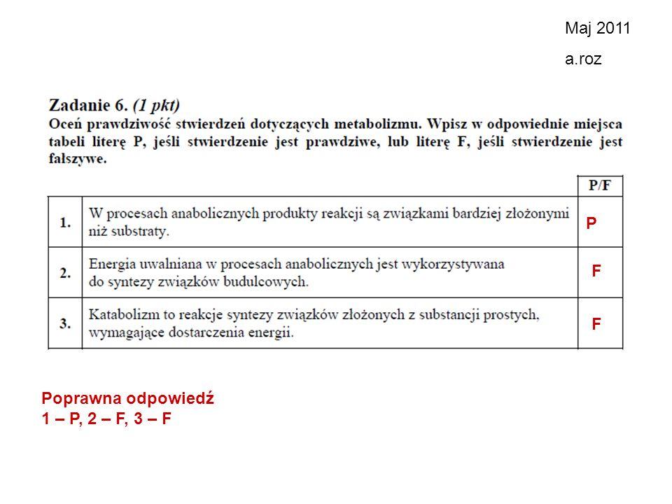 Maj 2011 a.roz P F F Poprawna odpowiedź 1 – P, 2 – F, 3 – F