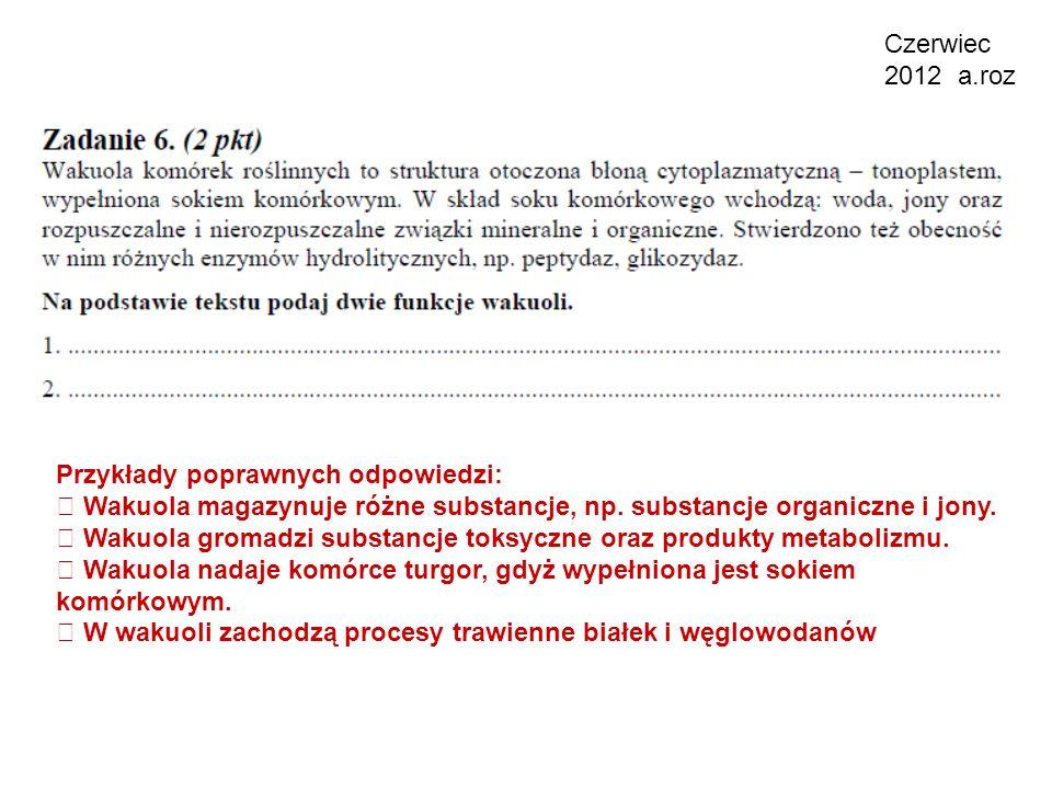 Czerwiec 2012 a.roz Przykłady poprawnych odpowiedzi:  Wakuola magazynuje różne substancje, np. substancje organiczne i jony.