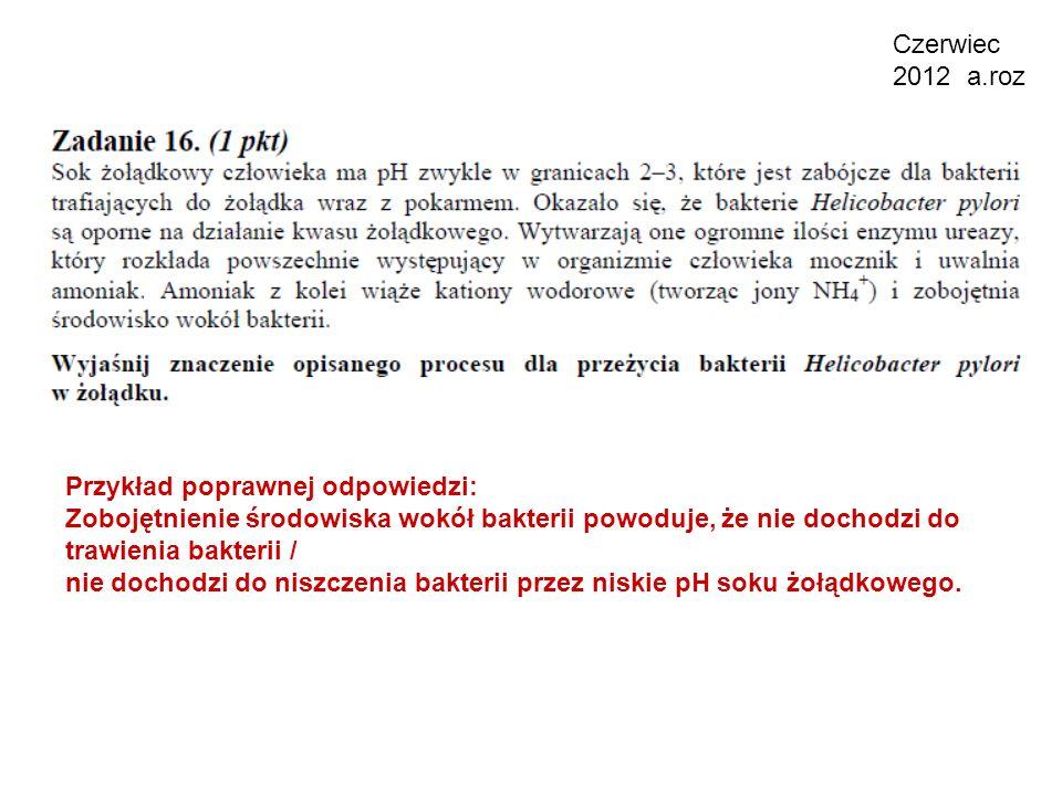 Czerwiec 2012 a.roz Przykład poprawnej odpowiedzi: Zobojętnienie środowiska wokół bakterii powoduje, że nie dochodzi do trawienia bakterii /