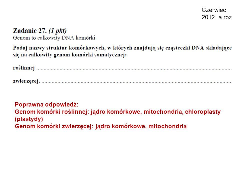 Czerwiec 2012 a.roz Poprawna odpowiedź: Genom komórki roślinnej: jądro komórkowe, mitochondria, chloroplasty (plastydy)