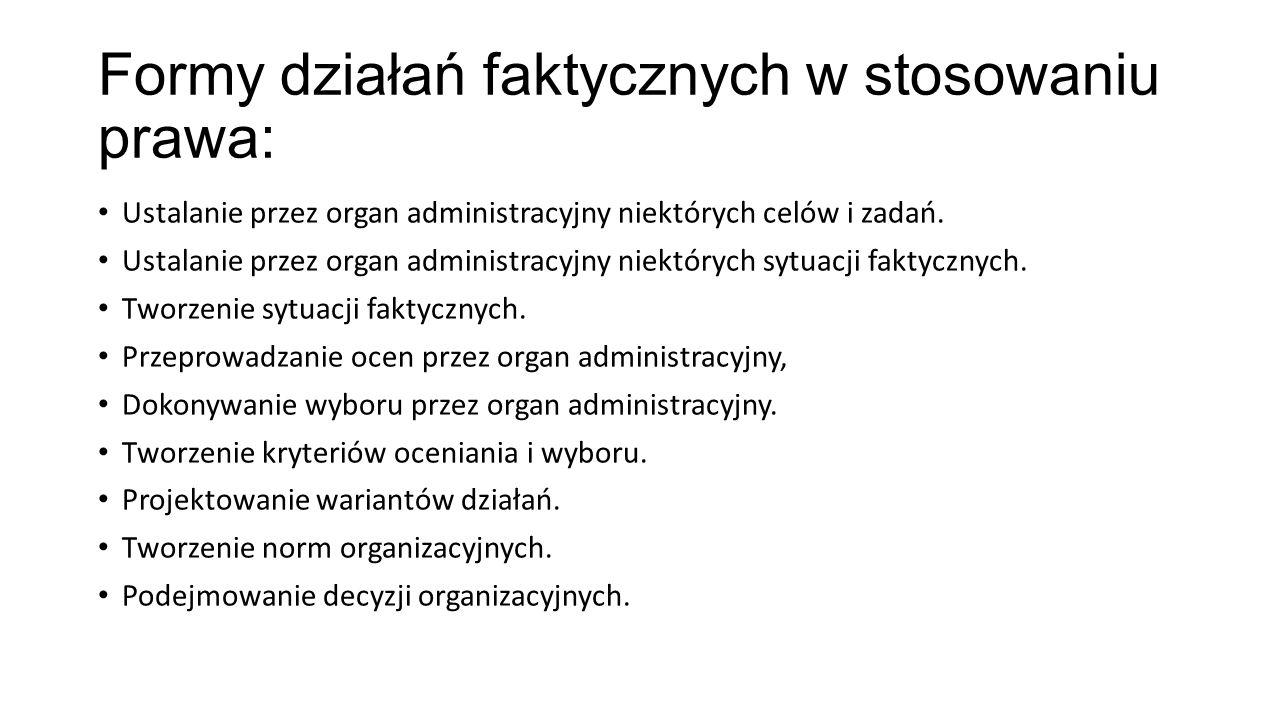 Formy działań faktycznych w stosowaniu prawa: