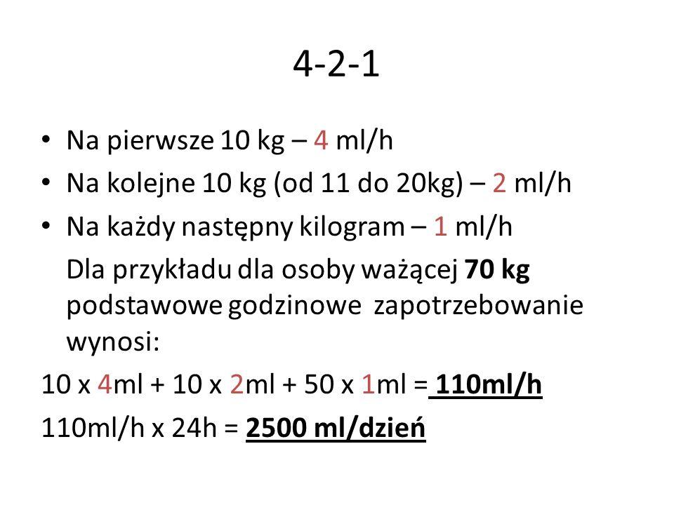 4-2-1 Na pierwsze 10 kg – 4 ml/h. Na kolejne 10 kg (od 11 do 20kg) – 2 ml/h. Na każdy następny kilogram – 1 ml/h.