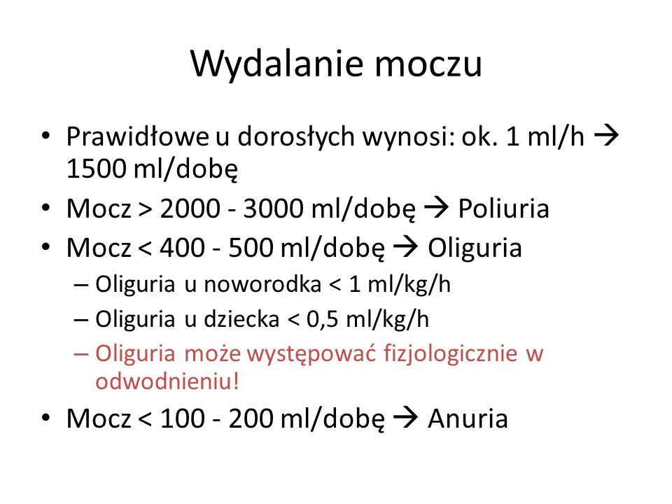 Wydalanie moczu Prawidłowe u dorosłych wynosi: ok. 1 ml/h  1500 ml/dobę. Mocz > 2000 - 3000 ml/dobę  Poliuria.