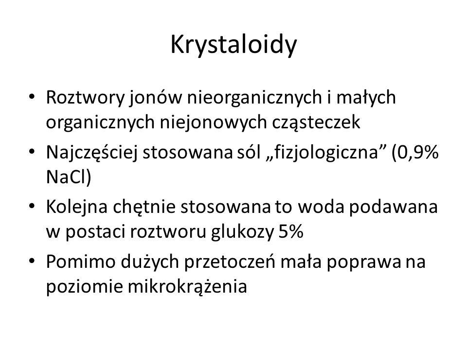 """Krystaloidy Roztwory jonów nieorganicznych i małych organicznych niejonowych cząsteczek. Najczęściej stosowana sól """"fizjologiczna (0,9% NaCl)"""