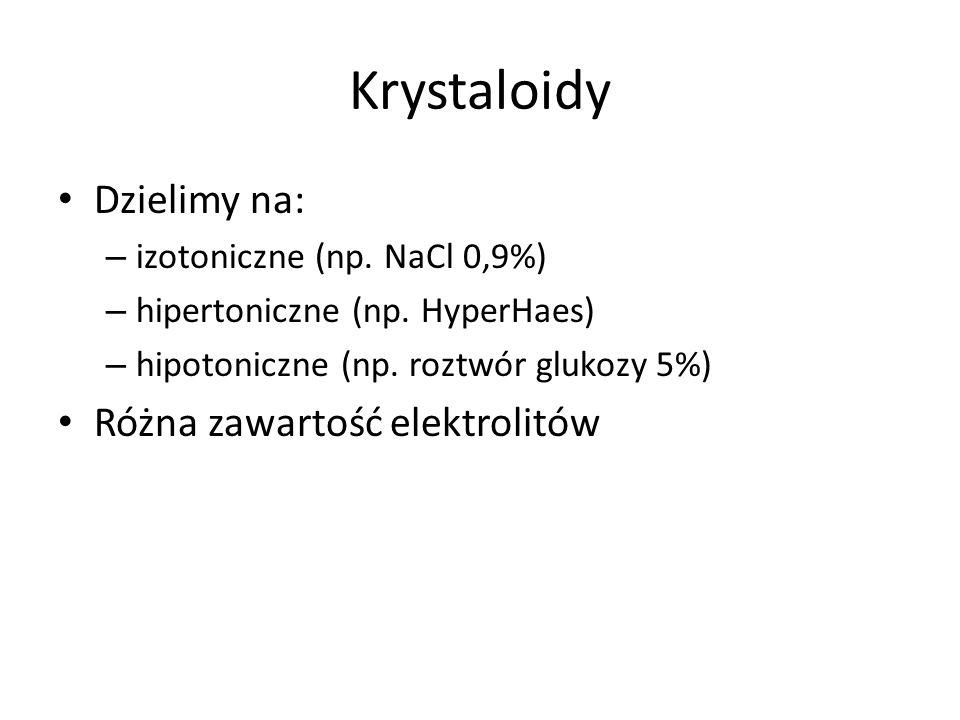 Krystaloidy Dzielimy na: Różna zawartość elektrolitów