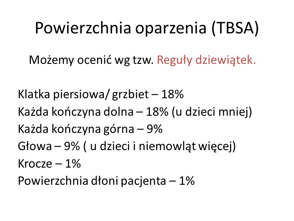 Powierzchnia oparzenia (TBSA)