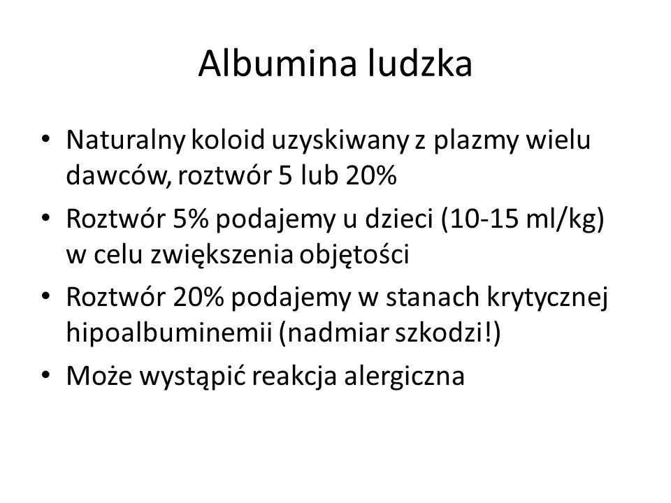 Albumina ludzka Naturalny koloid uzyskiwany z plazmy wielu dawców, roztwór 5 lub 20%