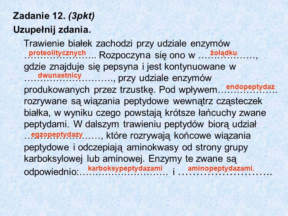 Zadanie 12. (3pkt) Uzupełnij zdania.