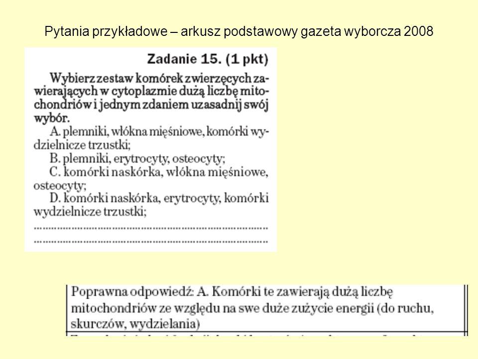 Pytania przykładowe – arkusz podstawowy gazeta wyborcza 2008