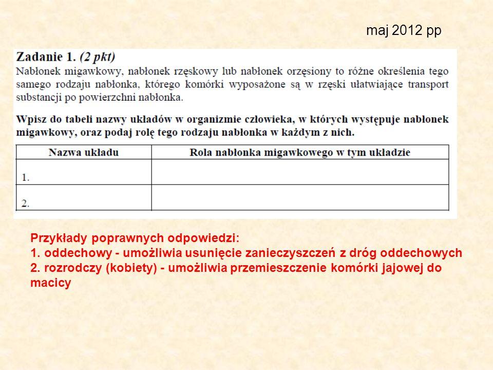 maj 2012 pp Przykłady poprawnych odpowiedzi: