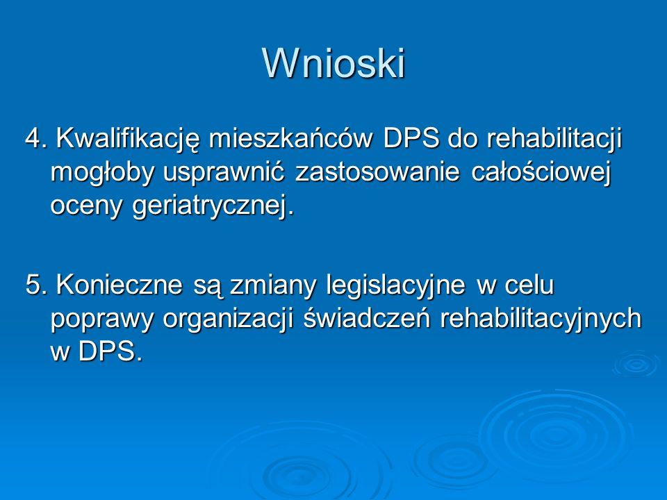 Wnioski 4. Kwalifikację mieszkańców DPS do rehabilitacji mogłoby usprawnić zastosowanie całościowej oceny geriatrycznej.