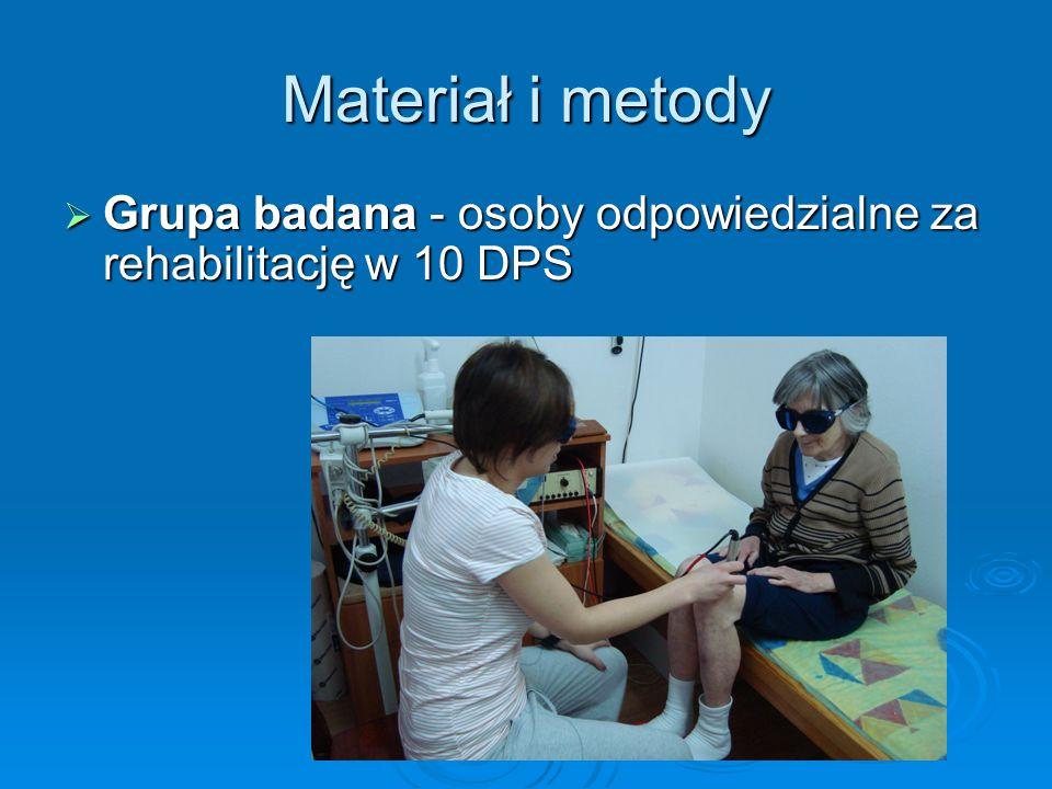 Materiał i metody Grupa badana - osoby odpowiedzialne za rehabilitację w 10 DPS