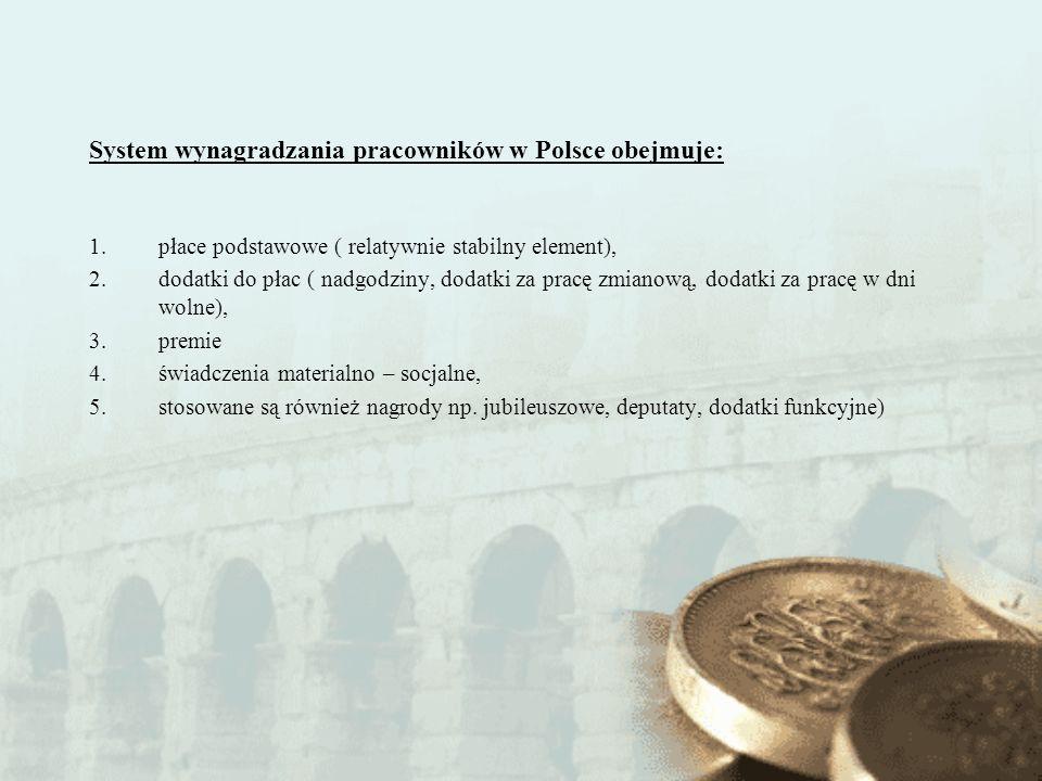 System wynagradzania pracowników w Polsce obejmuje:
