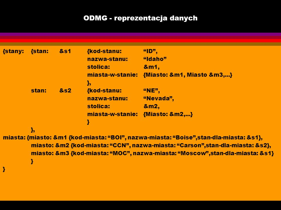 ODMG - reprezentacja danych