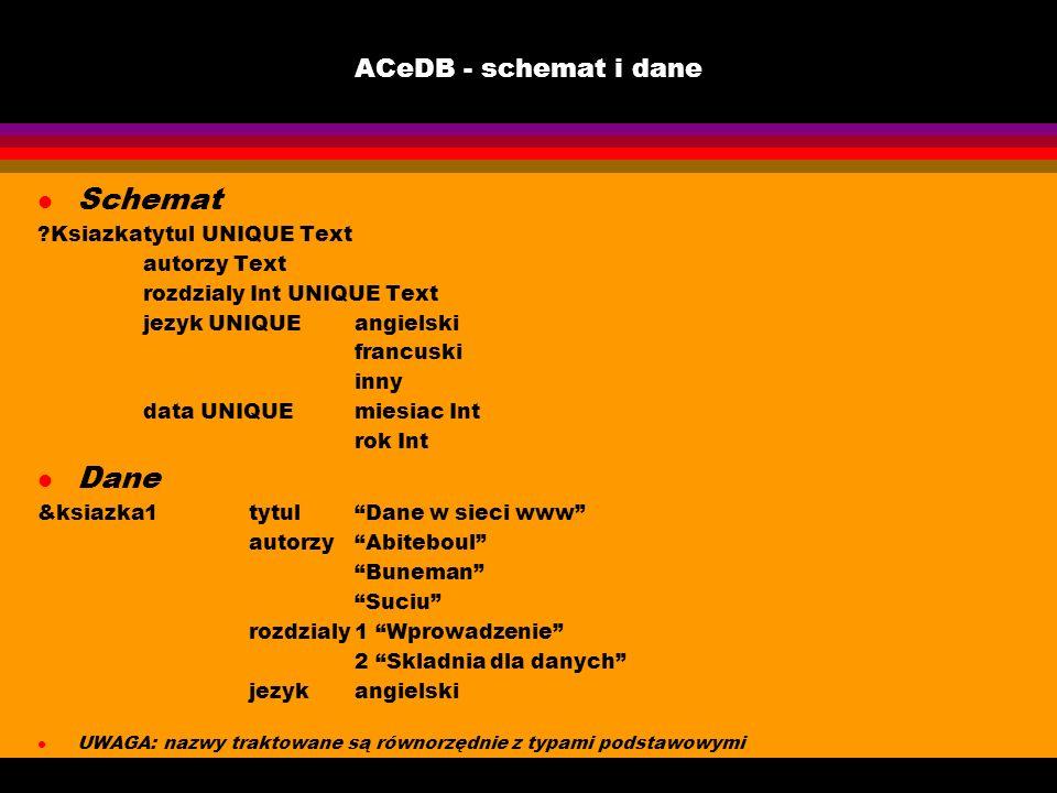 Schemat Dane ACeDB - schemat i dane Ksiazka tytul UNIQUE Text