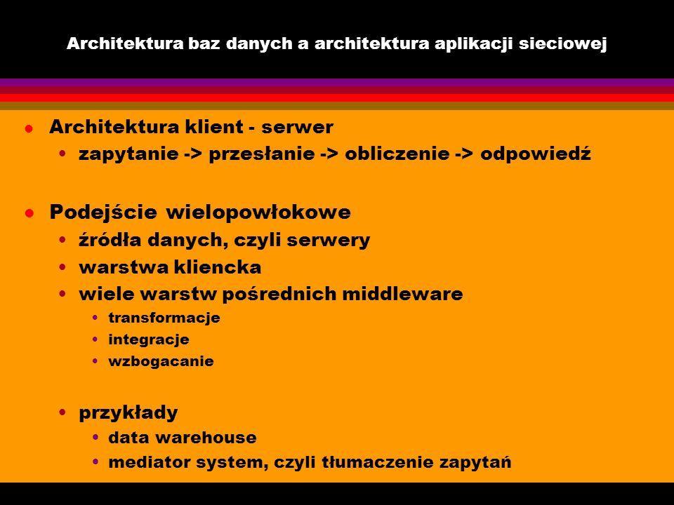 Architektura baz danych a architektura aplikacji sieciowej