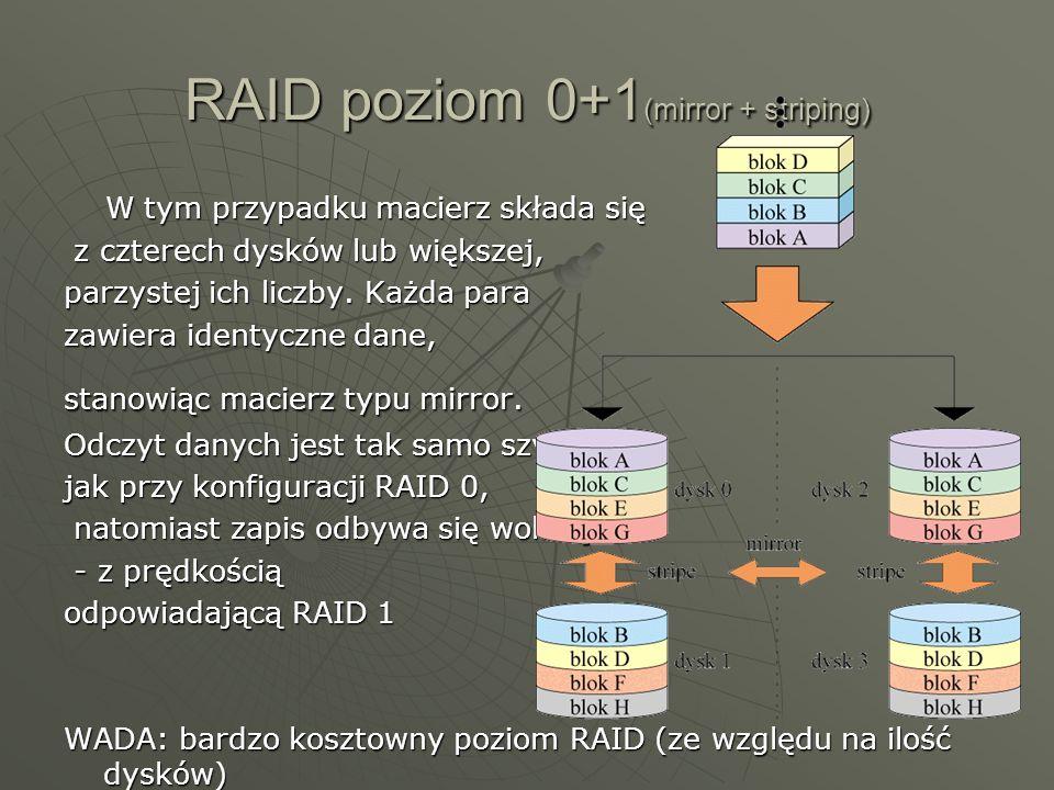 RAID poziom 0+1(mirror + striping)