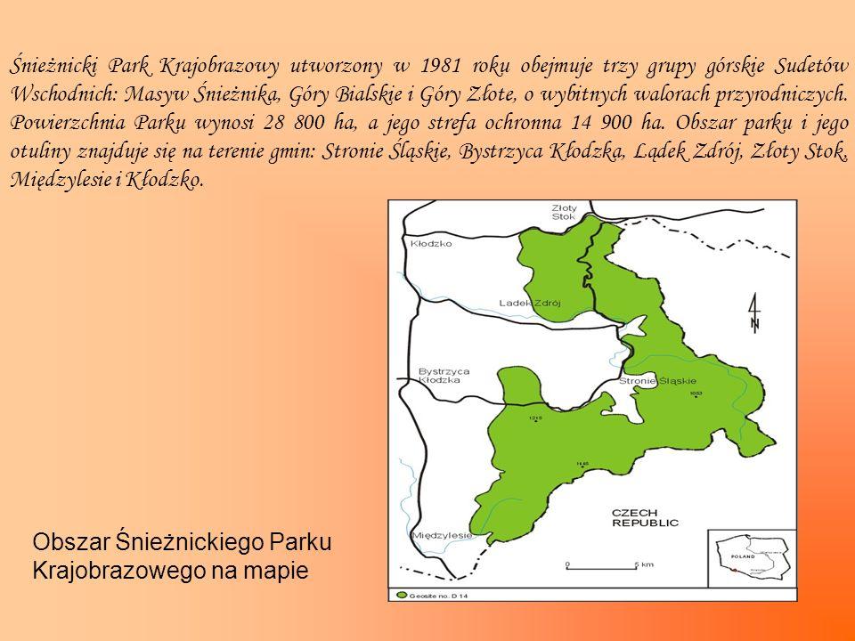 Śnieżnicki Park Krajobrazowy utworzony w 1981 roku obejmuje trzy grupy górskie Sudetów Wschodnich: Masyw Śnieżnika, Góry Bialskie i Góry Złote, o wybitnych walorach przyrodniczych. Powierzchnia Parku wynosi 28 800 ha, a jego strefa ochronna 14 900 ha. Obszar parku i jego otuliny znajduje się na terenie gmin: Stronie Śląskie, Bystrzyca Kłodzka, Lądek Zdrój, Złoty Stok, Międzylesie i Kłodzko.