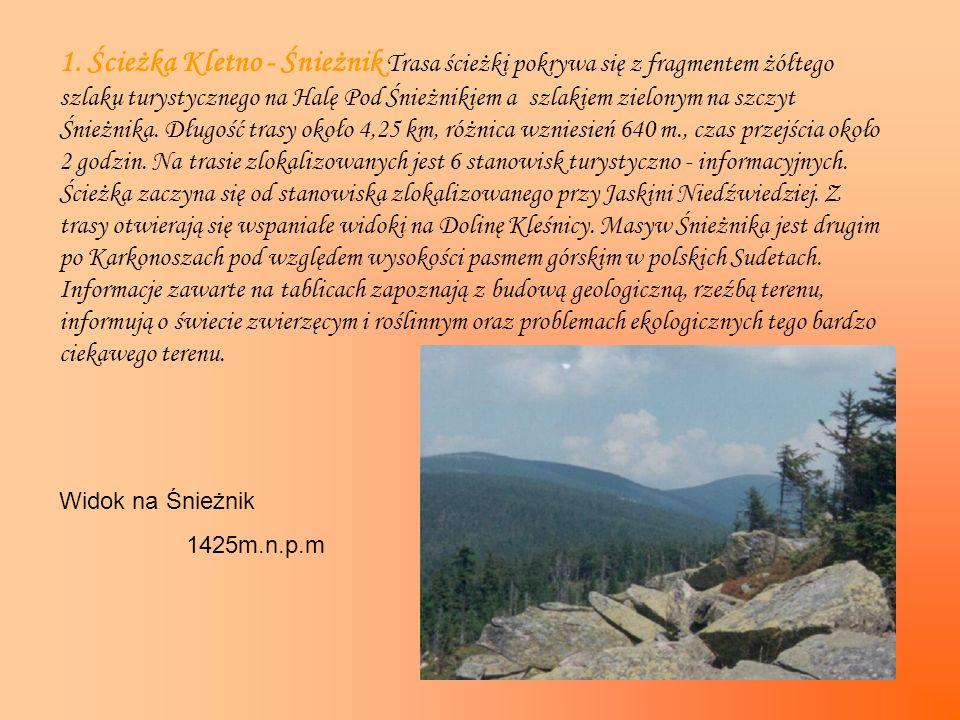 1. Ścieżka Kletno - Śnieżnik Trasa ścieżki pokrywa się z fragmentem żółtego szlaku turystycznego na Halę Pod Śnieżnikiem a szlakiem zielonym na szczyt Śnieżnika. Długość trasy około 4,25 km, różnica wzniesień 640 m., czas przejścia około 2 godzin. Na trasie zlokalizowanych jest 6 stanowisk turystyczno - informacyjnych. Ścieżka zaczyna się od stanowiska zlokalizowanego przy Jaskini Niedźwiedziej. Z trasy otwierają się wspaniałe widoki na Dolinę Kleśnicy. Masyw Śnieżnika jest drugim po Karkonoszach pod względem wysokości pasmem górskim w polskich Sudetach. Informacje zawarte na tablicach zapoznają z budową geologiczną, rzeźbą terenu, informują o świecie zwierzęcym i roślinnym oraz problemach ekologicznych tego bardzo ciekawego terenu.