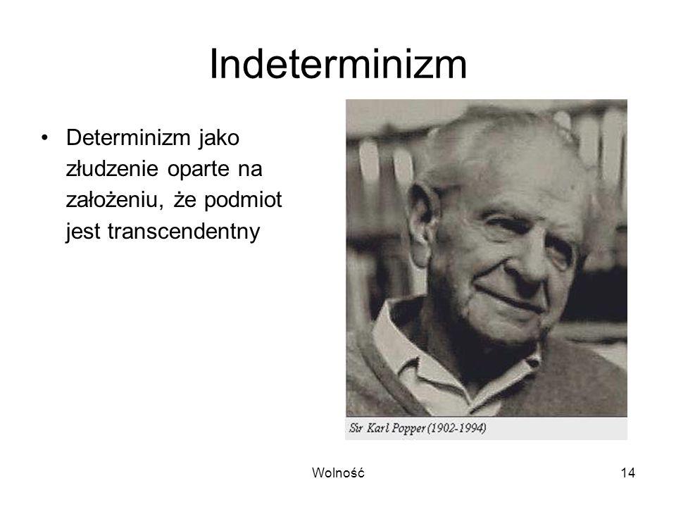 Indeterminizm Determinizm jako złudzenie oparte na założeniu, że podmiot jest transcendentny.