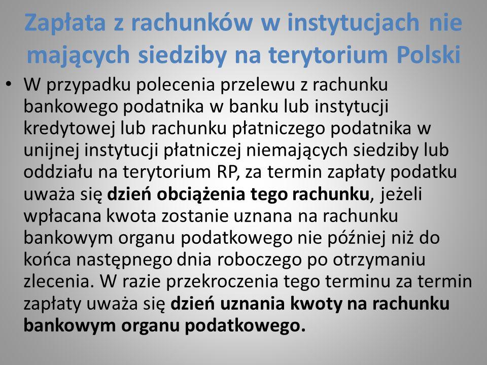 Zapłata z rachunków w instytucjach nie mających siedziby na terytorium Polski