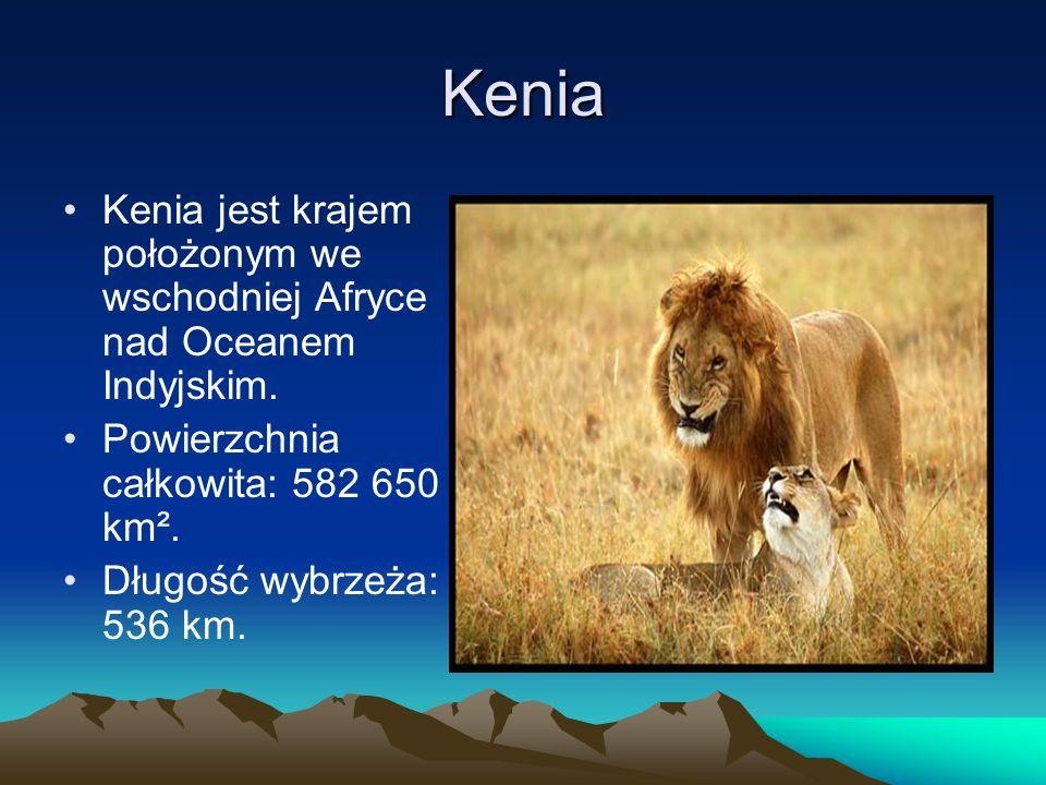KeniaKenia jest krajem położonym we wschodniej Afryce nad Oceanem Indyjskim. Powierzchnia całkowita: 582 650 km².