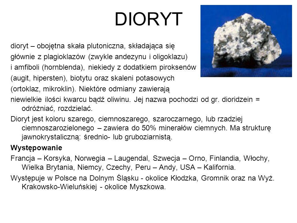 DIORYT dioryt – obojętna skała plutoniczna, składająca się