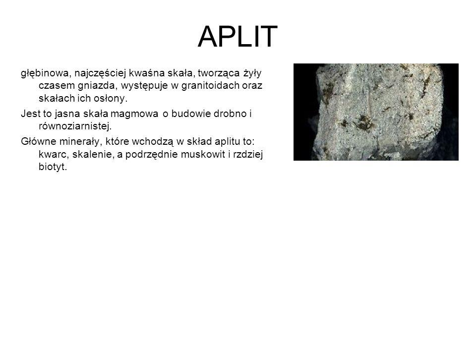 APLIT głębinowa, najczęściej kwaśna skała, tworząca żyły czasem gniazda, występuje w granitoidach oraz skałach ich osłony.