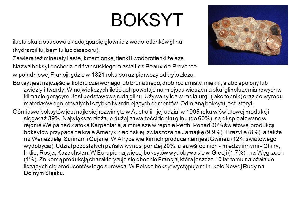 BOKSYT ilasta skała osadowa składająca się głównie z wodorotlenków glinu. (hydrargilitu, bemitu lub diasporu).